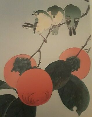 Japanese Print, Soseki Komori, Songbirds with Persimmons