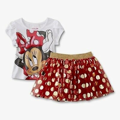 Gold Disney Minnie Mouse Mikey outfit tee and skirt set 12m 2T 3T 4T 5T