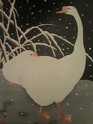 Japanese Print, Soseki Komori, Two Geese in Snow