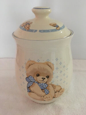"Theodore Country Bear Cookie Jar Canister 10"" Tienshan Stoneware White Blue Bow"