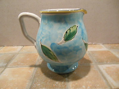 Italian Ceramic Hand-Painted Artisan Jug Pitcher, Made In Italy Fruits