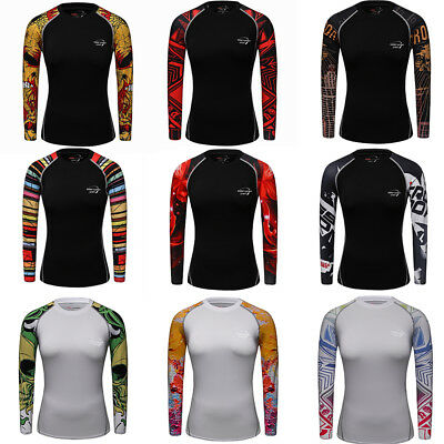Women Athletic Compression T-shirts Workout Yoga Fitness Tops Long Sleeve Tights