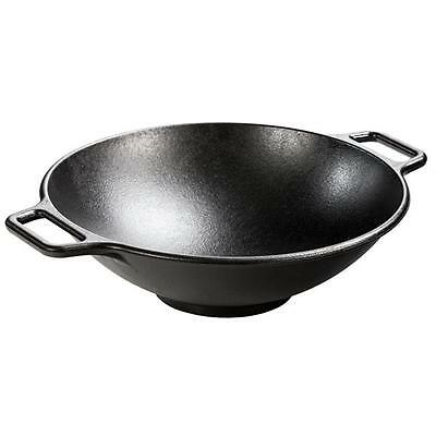 Lodge Pro-Logic P14W3 Preseasoned Cast Iron Wok, Black, 14-inch w/ Large Handles