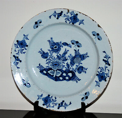 LARGE 34,9 cm DUTCH DELFT PLATE B/W CHINOISERIES FLOWERS INSECTS XVIII 18th