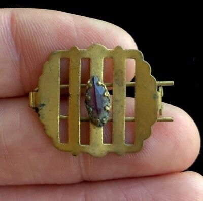 "Antique Edwardian Brass & Amethyst Hair Clip 1"" D610"