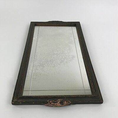 "Vintage Rectangular Wall Mirror Carved Painted Wood Frame Hanging 19"" x 10.5"""