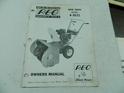 Wheel Horse Reo  Snowthrower Parts List And Instruction Manual