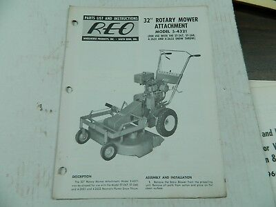 """Wheel Horse Reo 32"""" Mower Attachment  Parts List And Instruction Manual"""