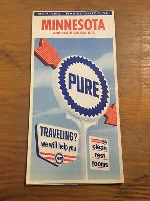 1960s Pure Oil Company Advertising Road Map Minnesota