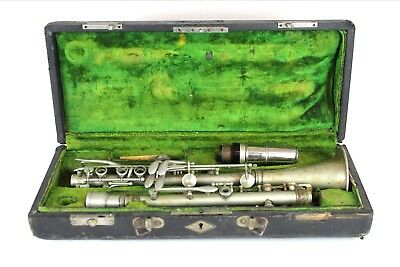Antique Silver Plated Clarinet M. LACROIX In Original Case- Made In Paris France