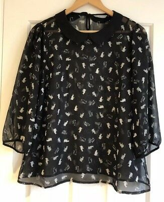 Ladies Size 14 Black Top With Cat Design