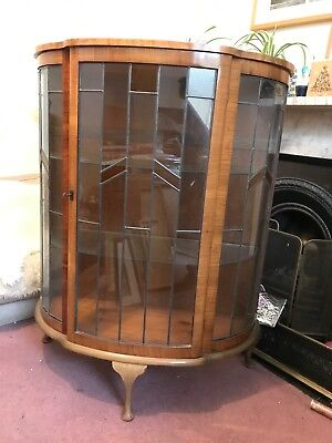 Art deco Walnut Vintage/Antique Display Cabinet, 1930's, excellent condition