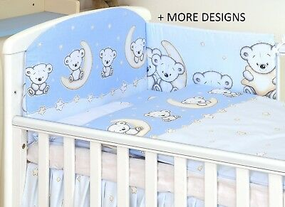 BLUE TEDDY MOON-2/3/5 pcs Baby Bedding Set fit Cot or Cot Bed + MORE DESIGNS