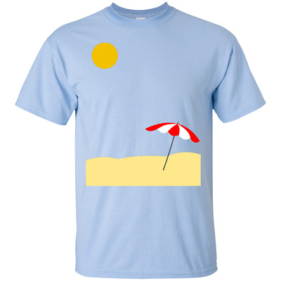 Beach View - Sun Parasol Sand Summer TShirt Vacation Holiday Bathe Sea Surf Fun