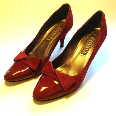 """Ladies Size 8 - Prevata Dark Red Swede & Patent Leather - 3"""" Pumps"""
