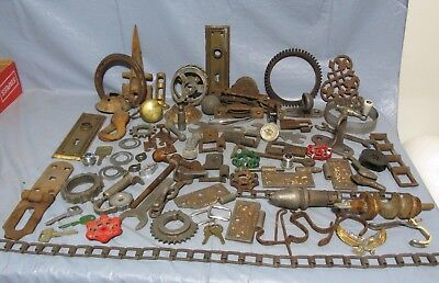 Vtg Junk Drawer Lot Rusty Metal Door Knobs, Gears,square Chain, Steampunk  Art