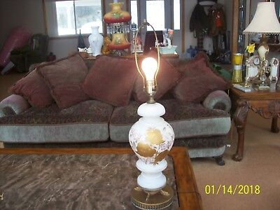 Gilted Gold Leaf Enamel Floral Pattern Vintage Large Glass & Brass Table Lamp