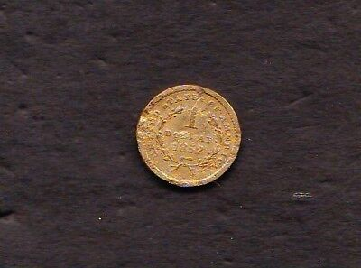 1852 $1 Gold Nicked and Scratched but Genuine Clear Date and Devices