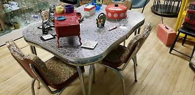 Vintage Red black white Formica table and chairs