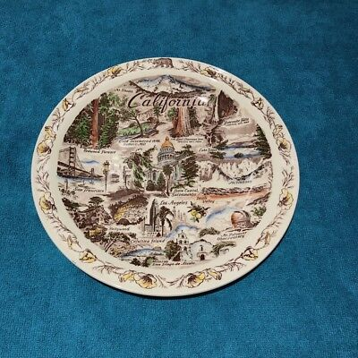 Vernon Kilns California State Plate hand-painted full multicolor artist-signed!