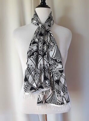 New Retro Art Nouveau Pattern Beaded Fringe Fashion Scarf Made In Canada