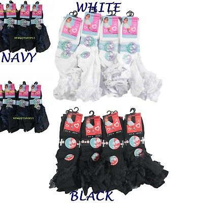 BABIES GIRLS 12 Pairs FRILLY LACE ANKLE SOCKS WEDDING PARTY, NAVY WHITE BLACK