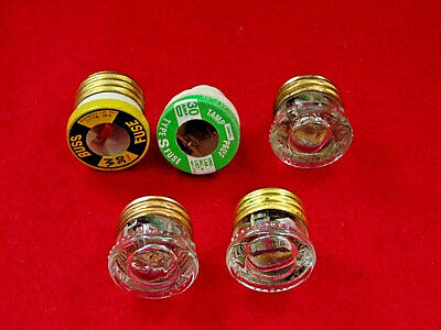 Lot Of 5 Misc 30 Amp  Screw In Fuses Buss, Snap-It, Ge, Eagle & 1 Misc
