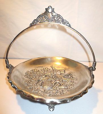 Antique Pairpoint MFG Co Quadruple Silver Plate Brides Cake Footed Handle Basket