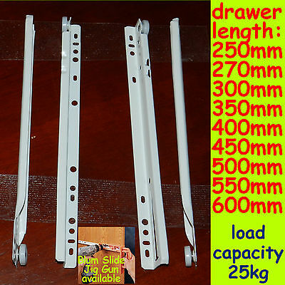1 set (4pcs) 250-600mm White Roller Drawer Runners metal LC 25kg kitchen/bedroom