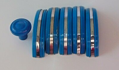 Set of 6 Handles BLUE BAKELITE Knobs Drawer or Door Pulls CHROME Strip 3""