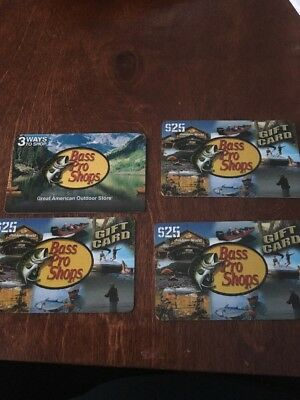 $100 Bass Pro Gift Card 4 $25 Cards  For Ice Fishing Hunting Shooting