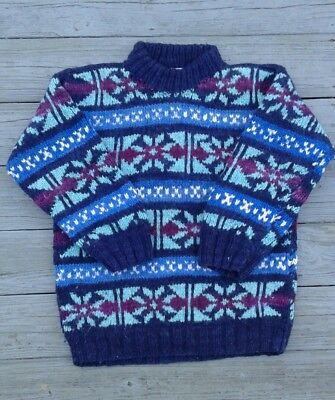 Vintage Hand Made Ecuadorian Wool Sweater by Rey Wear, Size Large