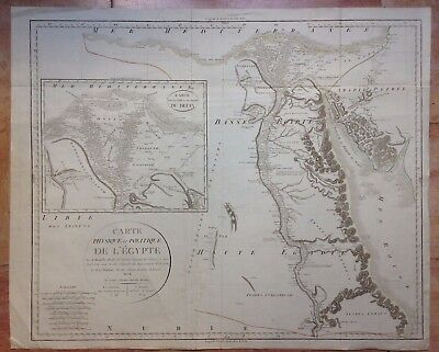 EGYPT AN VII -1798 by MENTELLE & CHANLAIRE LARGE & DETAILED COPPER ENGRAVED MAP