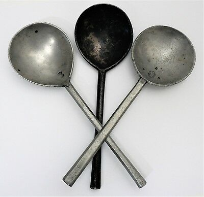 Lot of 3 17th - 18th c Antique Pewter Spoons w Touchmarks
