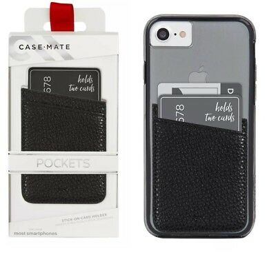 low priced 6263c e786c CASE MATE POCKETS Stick-on Universal Card Holder for Smartphones Black NEW
