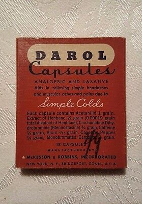 Vintage  BOX ONLY McKesson and Robbins  DAROL CAPSULES Analgesic and Laxative