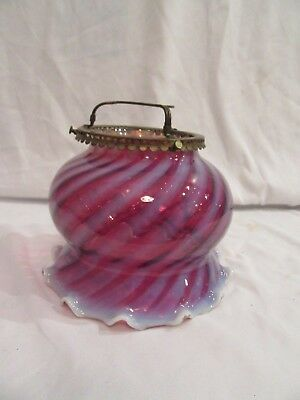 Victorian Cranberry Opalescen Glass Oil / Gas Lamp Shade and Fitter Dated 1878