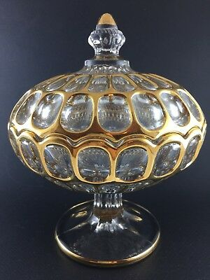 Beautiful Rare Vintage Crystal And Gold Lidded Compote