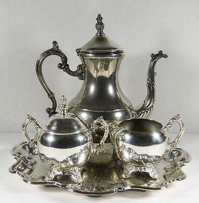 FB Rogers 1883 Silver Co Silver Plate Tea Set Tea Pot Creamer Sugar w/top Tray