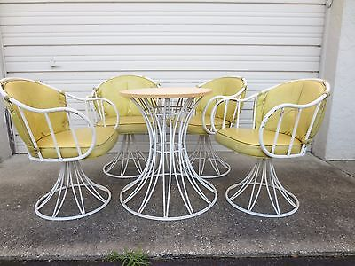 RARE Mid-Century Modern Iron 4 Chairs Table Swivel Patio Set Dining Homecrest ST