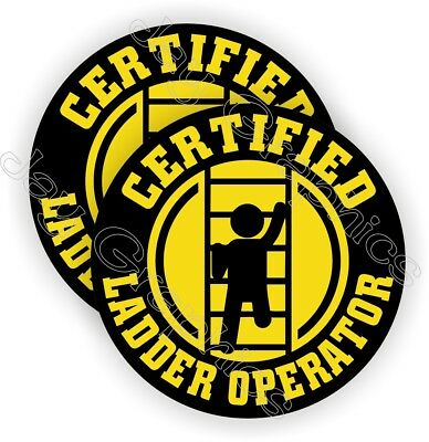 Funny Ladder Operator Hard Hat Stickers | Decals Labels | Helmet Laborer Safety
