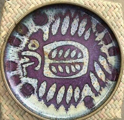 Large Vintage Mid-Century Pottery Signed Raul Coronel Charger Platter Bowl 1976