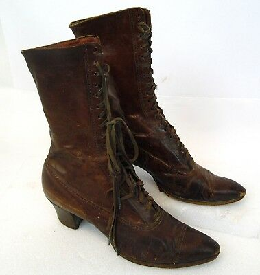 "Antique 11"" Womens Dark Brown Leather Primitive West Victorian Ladies High Boots"