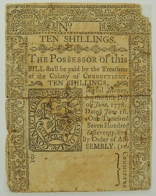 1775 Ten Shillings Connecticut Colonial Currency (Backed with Archival Tape)(02)