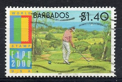 BARBADOS = 2000 World Stamp EXPO - Golfer, $1.40. SG 1173. Fine Used.