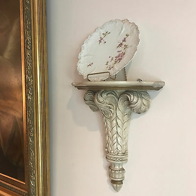 Antique Ivory Plume Brackets.Sconces.Wall Shelf. Chic Painted Shabby Vintage