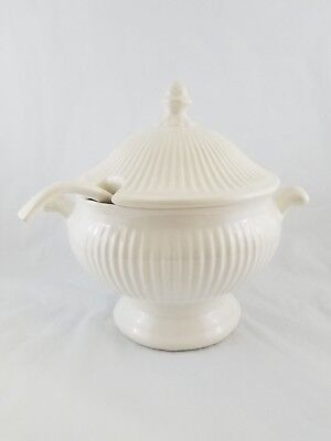 Vintage White Ribbed Soup Tureen with Lid & Ladle