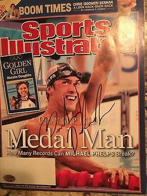 Michael Phelps Signed Sports Illustrated Full Magazine - No Label SGC certified