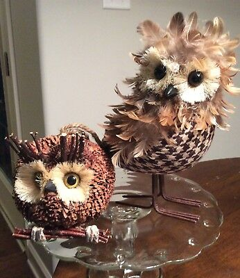 Set of Christmas Owl Ornaments or Decor Pinecomb Feather Owls