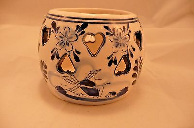 Delft Beautiful Vintage Tea Light Holder Hand Painted in Holland Blue